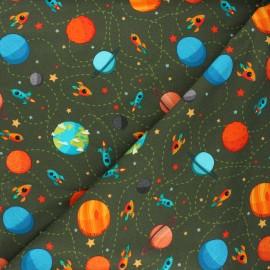 Printed sweatshirt fabric - khaki green Space trip x 10cm