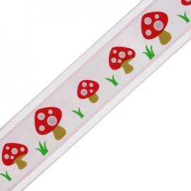 Ruban organza simple face champignons rose
