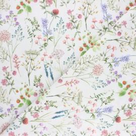 Cretonne cotton fabric - white Summer garden x 10cm