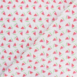 Cretonne cotton fabric - white Fresh watermelon x 10cm