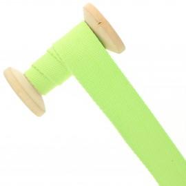 Sangle coton 30 mm - vert lime - bobine de 15 m