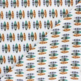 Tissu coton cretonne Surf vibe - blanc x 10cm