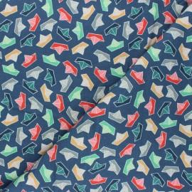 Tissu sweat Les bateaux - bleu x 10cm