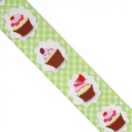 Brassed gingham Ribbon, cupcakes - Green