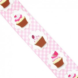 Ruban laitonné Vichy Cupcakes rose