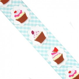Brassed gingham Ribbon, cupcakes - turquoise