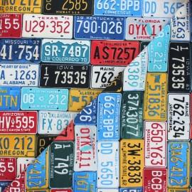 Timeless Treasures cotton fabric - multicolor License plate x 10cm