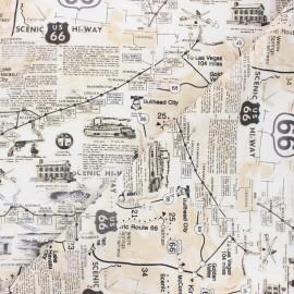 Tissu coton Timeless Treasures - Route 66 - écru x 10cm