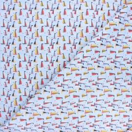 Tissu coton cretonne Voiliers - bleu x 10cm