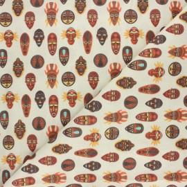 Tissu coton cretonne Mombasa - jaune x 10cm
