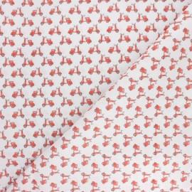 Tissu coton cretonne Scooter trip - blanc x 10cm