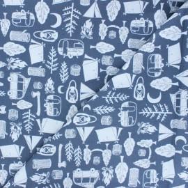 Tissu coton Dear Stella Chop it like it's hot - Got wood? - bleu x 10cm