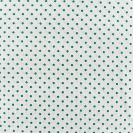 Tissu petits pois vert prairie fond blanc x 10cm
