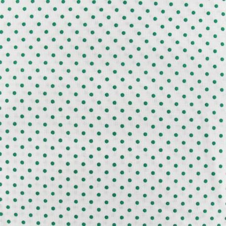 Tissu mini pois vert prairie fond blanc x 10cm