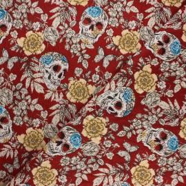 Tissu jacquard Vanité - rouge x 10cm