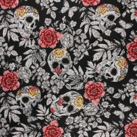 Jacquard fabric - black Vanité x 10cm