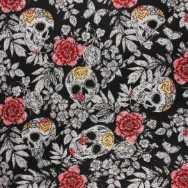 Tissu jacquard Vanité - noir x 10cm