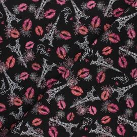 Jacquard fabric - black Bisous x 10cm