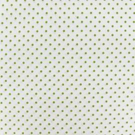Tissu petits pois vert mousse fond blanc x 10cm