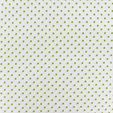 Tissu mini pois vert mousse fond blanc x 10cm