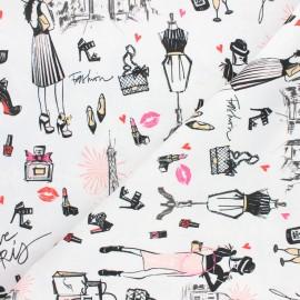 Damask fabric -  white I love Paris x 10cm