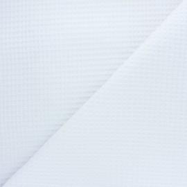 Tissu piqué de coton nid d'abeille Balmoral - blanc x 10cm