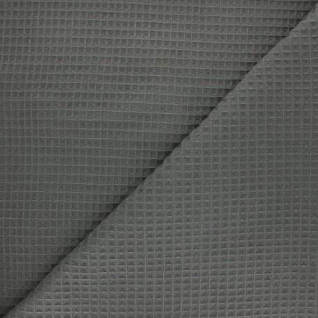 Waffle stitch cotton fabric - dark khaki Balmoral x 10cm