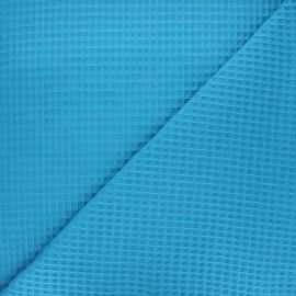 Waffle stitch cotton fabric - blue Balmoral x 10cm