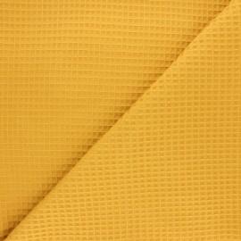 Tissu piqué de coton nid d'abeille Balmoral - ocre x 10cm