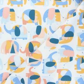 Tissu coton Dear Stella Forget me not - Elephants - blanc x 10cm