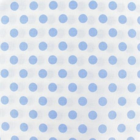 Tissu pois ciel fond blanc x 10cm