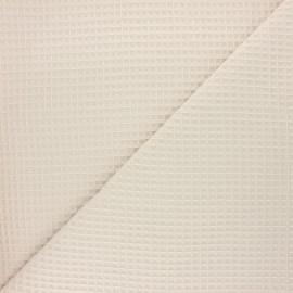 Waffle stitch cotton fabric - light sand Spa x 10cm