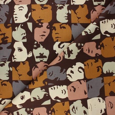 Tissu coton Alexander Henry In crowd - marron x 10cm