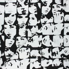Tissu coton Alexander Henry In crowd - noir/blanc x 10cm