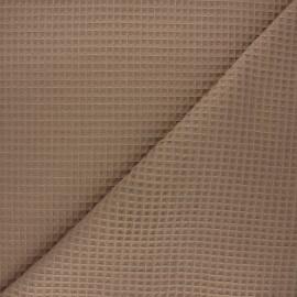 Waffle stitch cotton fabric - taupe Spa x 10cm
