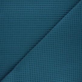 Waffle stitch cotton fabric - duck blue Spa x 10cm