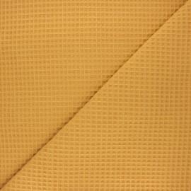 Waffle stitch cotton fabric - ochre Spa x 10cm