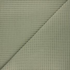 Waffle stitch cotton fabric - khaki Spa x 10cm