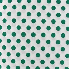 Tissu pois vert prairie fond blanc x 10cm