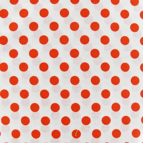 Tissu pois orange fond blanc x 10cm