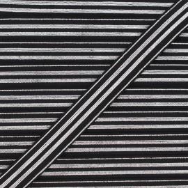 20 mm Striped lurex elastic band - silver/black Louis x 1m
