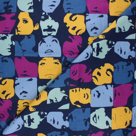 Tissu coton Alexander Henry In crowd - bleu nuit x 10cm
