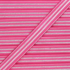 Ruban élastique rayé lurex Louis 20 mm - fuchsia/argenté x 1m