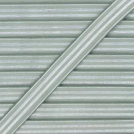 Ruban élastique rayé lurex Louis 20 mm - vert de gris/argenté x 1m