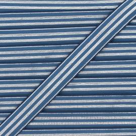 Ruban élastique rayé lurex Louis 20 mm - bleu houle/argenté x 1m