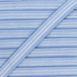 Ruban élastique rayé lurex Louis 20 mm - bleuet/argenté x 1m