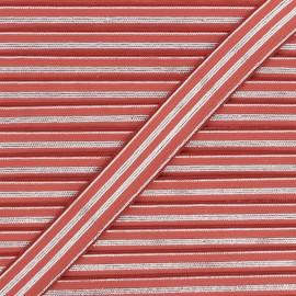 Ruban élastique rayé lurex Louis 20 mm - tomette/argenté x 1m