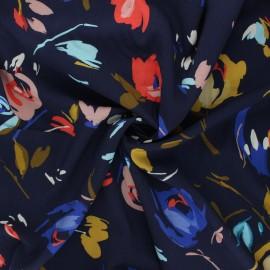 Tissu viscose Atelier Jupe Flore - bleu nuit x 10cm