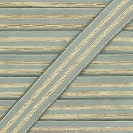 Ruban élastique rayé lurex Louis 30 mm - vert de gris/doré x 1m
