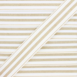 30 mm Striped lurex elastic band - white/golden Louis x 1m
